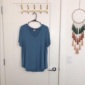 Blue cross cross t shirt